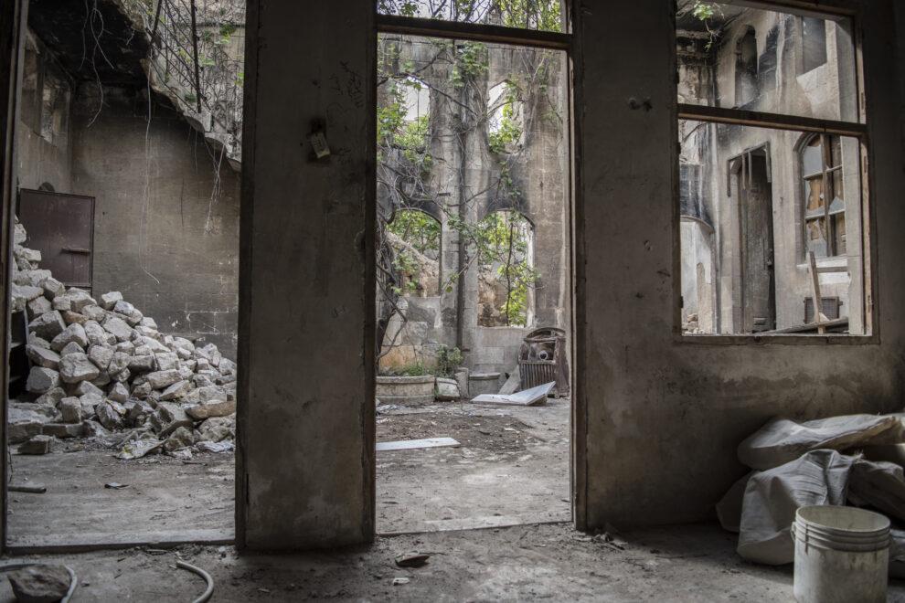 Un palacete destruido de Alepo viejo