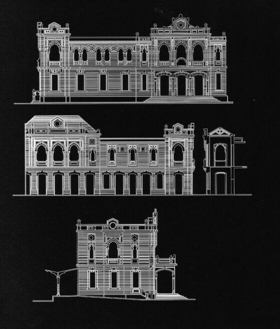 Plano de la estación de Hiyaz, en Damasco, diseñada por Fernando de Aranda. Es uno de los edificios más bellos de principios del siglo XX en Damasco