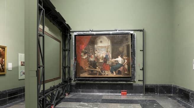 Imagen de Las hilanderas con el panel de enmascaramiento abierto