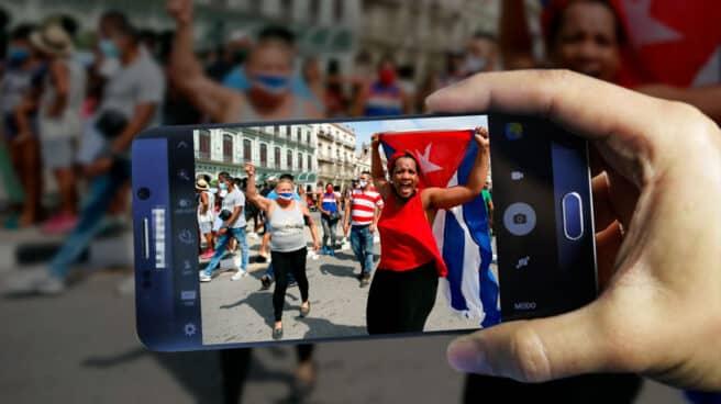 Imagen de la revuelta en Cuba tomada desde un móvil