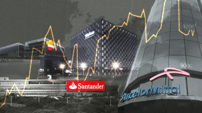 Imagen de sedes de grandes empresas bajo una curva de Ibex-35