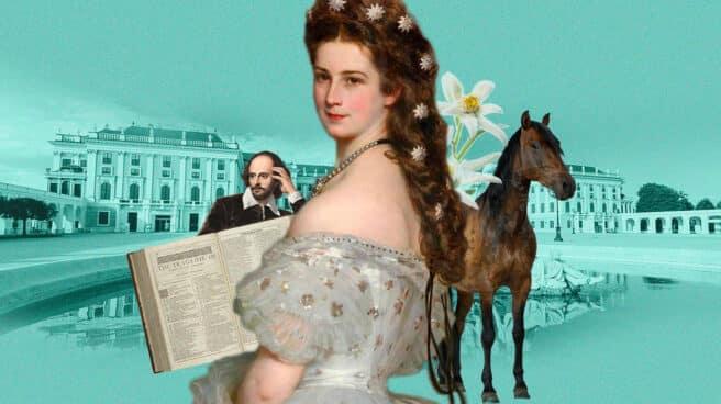Collage de Sissi con el palacio de Schönbrunn de fondo y Shakespeare