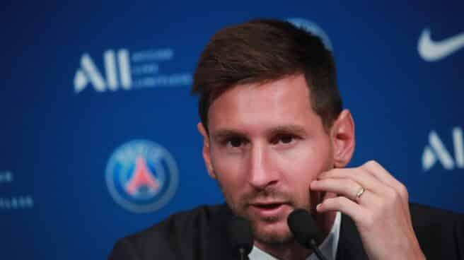 El delantero argentino Lionel Messi durante su rueda de prensa como parte de su presentación oficial con el PSG.