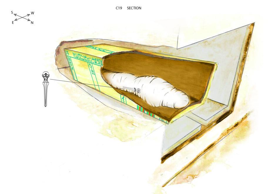 Dibujo de la cámara funeraria de Khema con indicación de la posición de la daga entre el vendaje