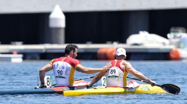 Saúl Craviotto y Carlos Arévalo, tras la final del K1-200