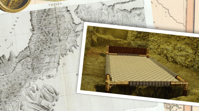 Recreación de la cama de Nisemro en la tumba excavada por una misión española