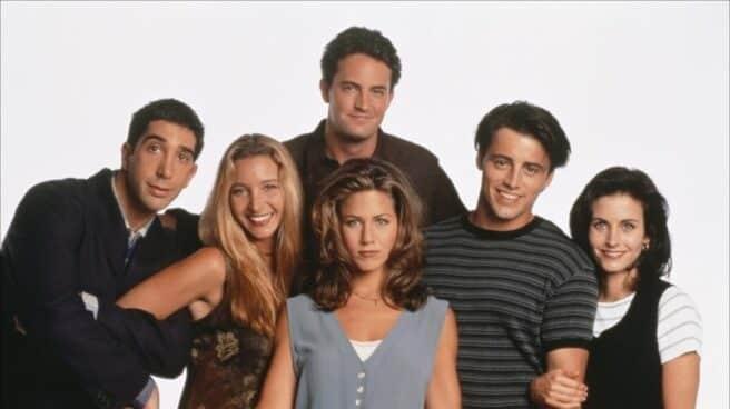 Cartel de los protagonistas de Friends con Jennifer Aniston, Rachel y David Schwimmer, Ross