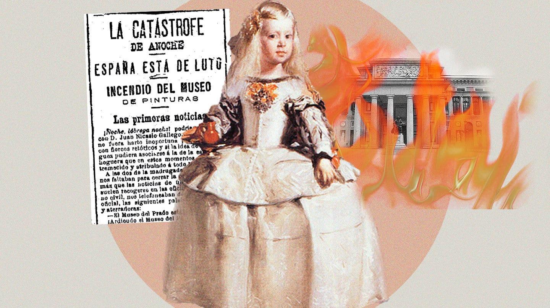 Collage con la noticia de la catástrofe del incendio del Museo del Prado, una menina y el museo en llamas
