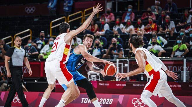 Luka Doncic durante el partido entre España y Eslovenia en Tokio 2020.