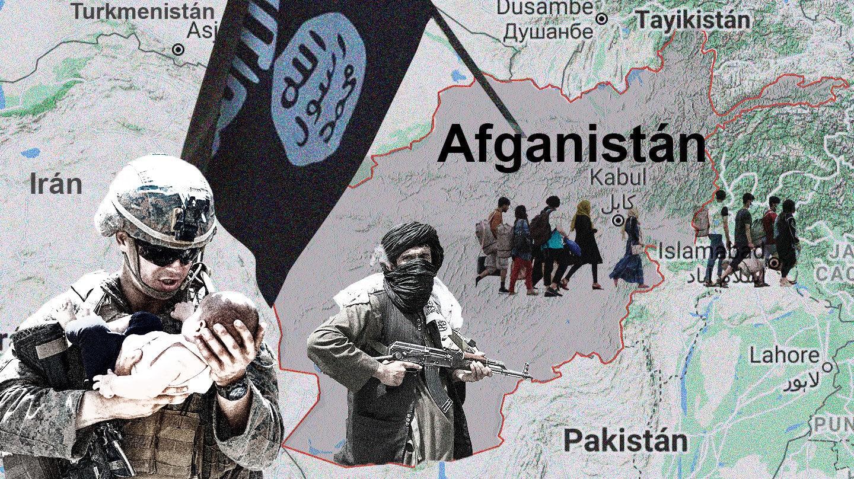 Imagen del mapa de Afganistán con un talibán, la bandera de el Estado Islámico del Gran Jorasán, gente marchando y un soldado americano con un bebé en brazos