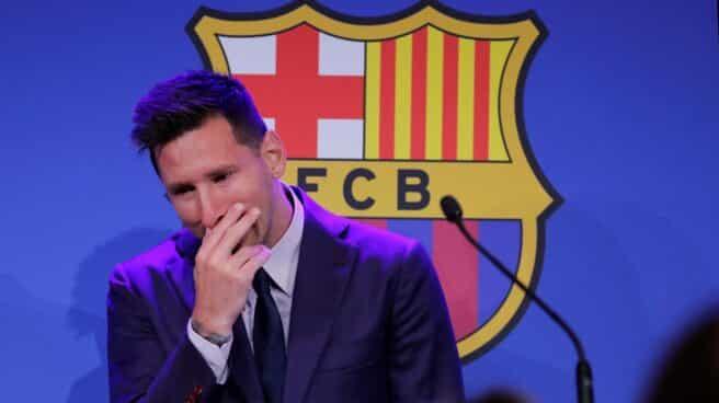 Lionel Messi en la rueda de prensa de su despedida.