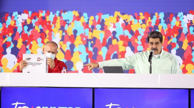 Nicolás Maduro y Diosdado Cabello, en una rueda de prensa.