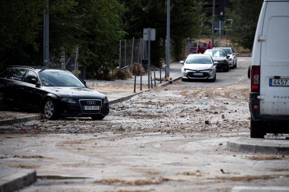 Efecto de las fuertes lluvias en Arganda (Madrid)