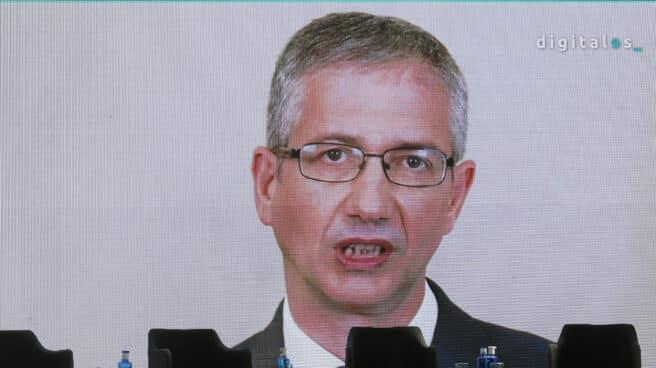 El gobernador del Banco de España, Pablo Hernández de Cos, en el 'DigitalES Summit 2021' celebrado en el Jardín Botánico de Madrid.