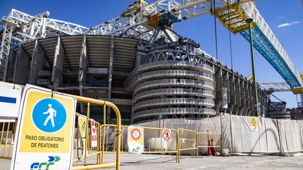 Imagen de las obras del estadio Santiago Bernabéu, que reabrirá este domingo