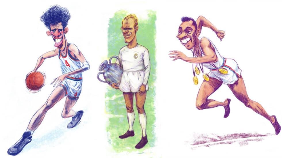 """Drazen Petrovic, Alfredo di Stéfano y Jesse Owens, en unos dibujos de Javier Carbajo para el libro """"Álbum de Cromos"""" de Andrés Amorós"""