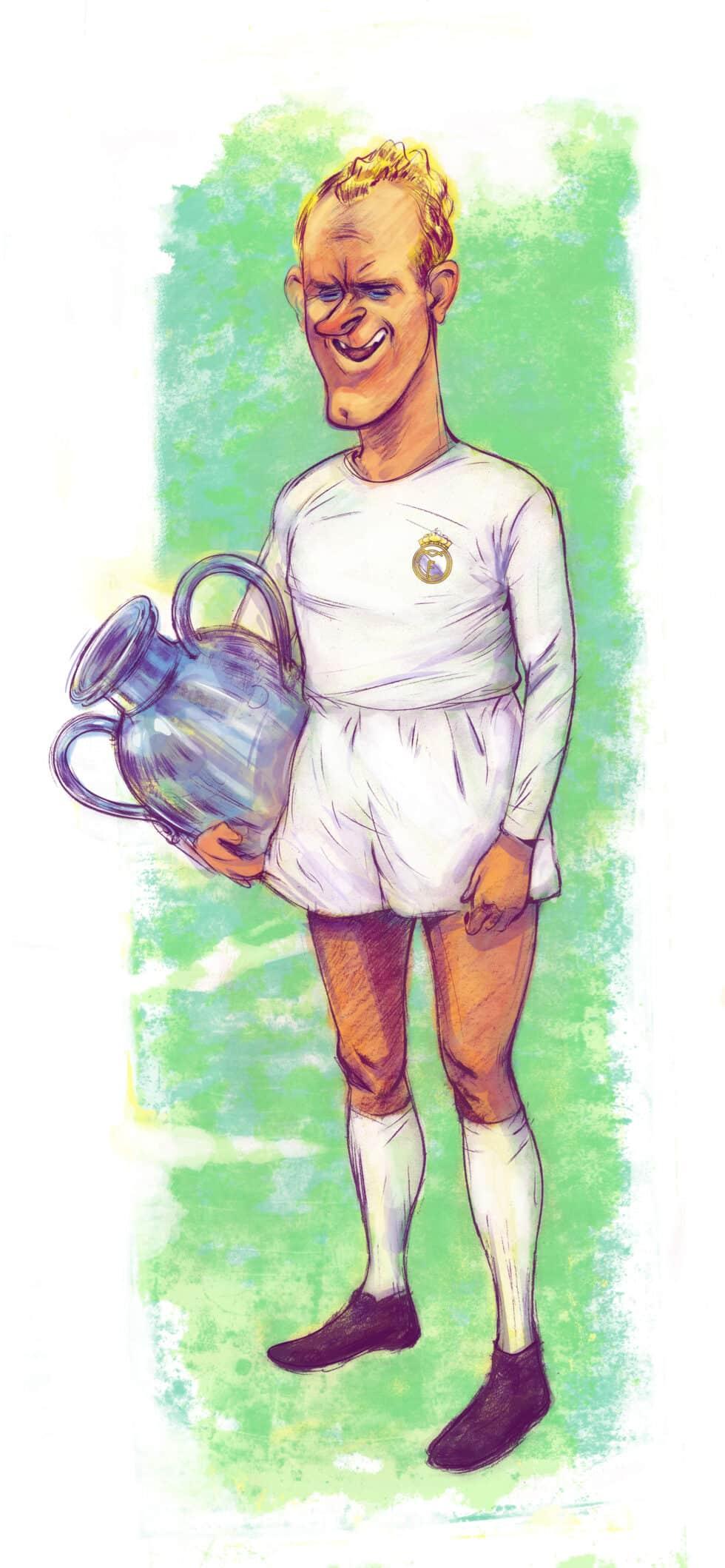 """Ilustración del futbolista Alfredo di Stéfano para el libro """"Álbum de cromos"""""""
