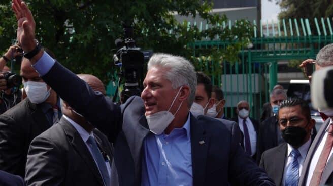 El presidente cubano, Miguel Díaz-Canel, en México