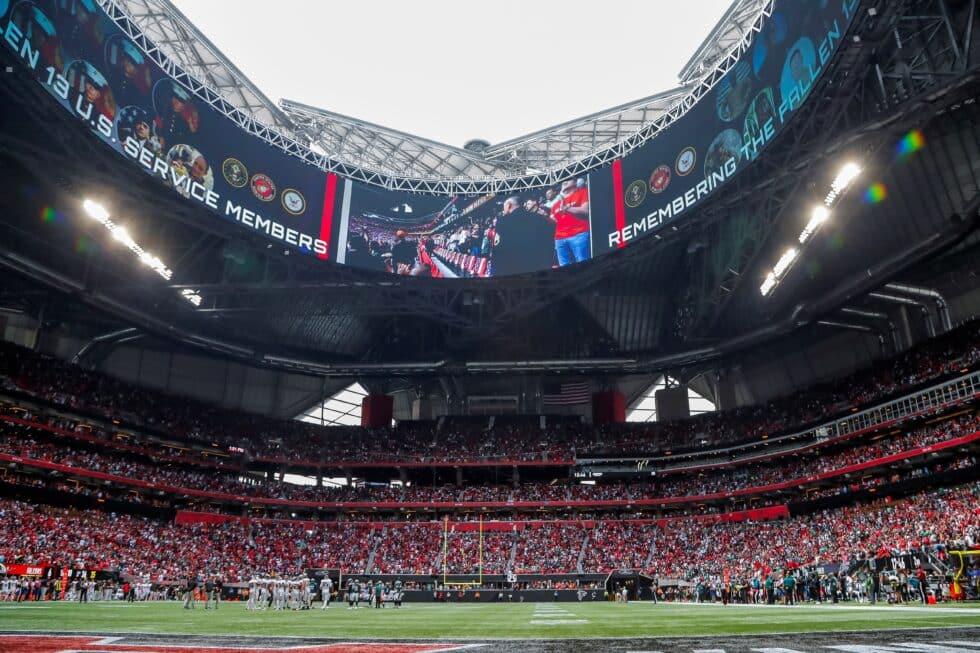 El estadio Mercedes Benz de Atlanta, durante el partido entre los Philadelphia Eagles y los Atlanta Falcons