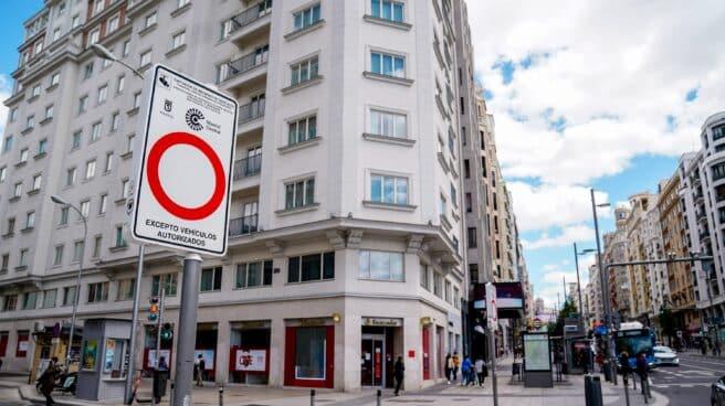 Zona de restricción de tráfico en Madrid.