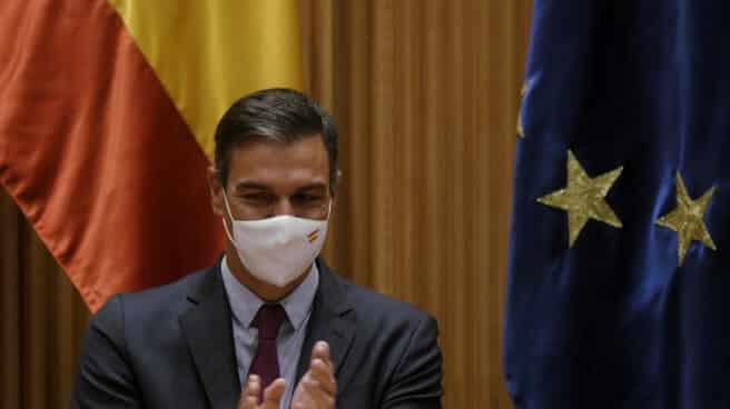 Pedro Sánchez, en la reunión parlamentaria del PSOE en el Congreso.