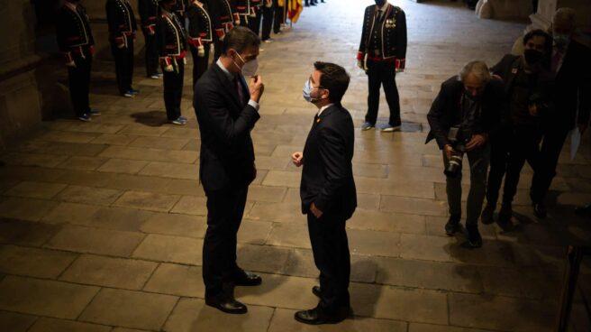 Sánchez y Aragonés, en el Palau de la Generalitat.