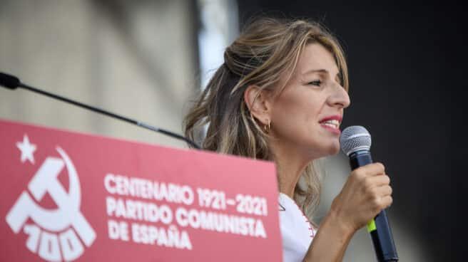 Yolanda Díaz, en la Fiesta del PCE.
