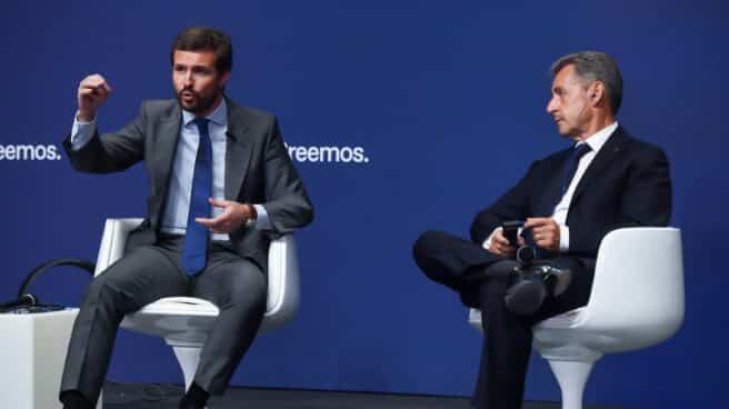 Casado y Sarkozy, en la Convención Nacional del PP.