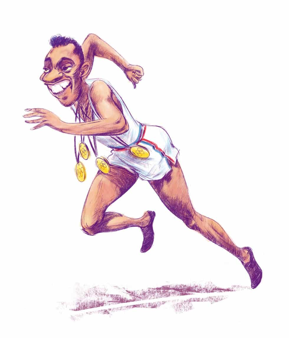 """Ilustración del atleta Jesse Owens para el libro """"Álbum de cromos"""""""