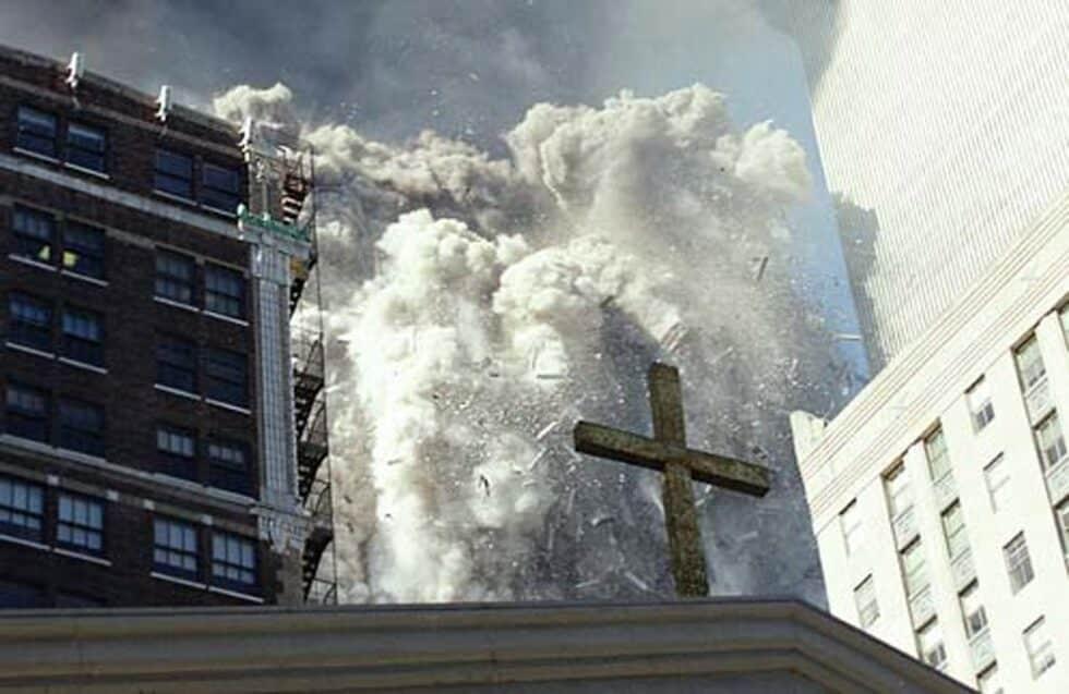 Imagen de una de las torres colapsando, fotografiada por un trabajador del Servicio Secreto