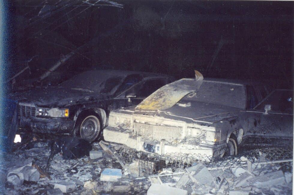 Varias limusinas del Servicio Secreto de Estados Unidos que estaban aparcadas en el World Trade Center