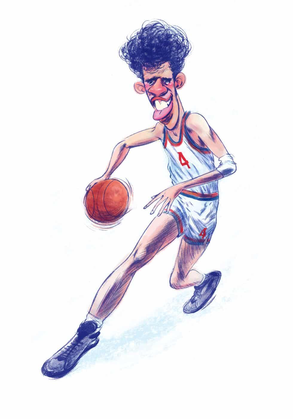 """Ilustración del jugador de baloncesto Drazen Petrovic para el libro """"Álbum de cromos"""""""