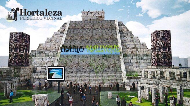 Fotografía de la entrada de la pirámide azteca Teatro Malinche del Periódico Vecinal Hortaleza