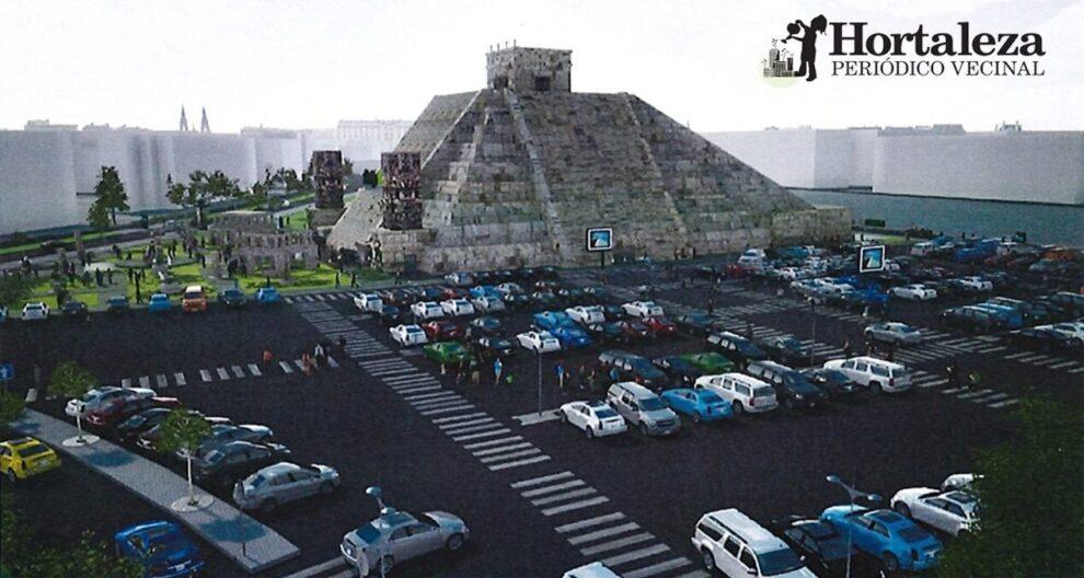 Fotografía de la pirámide azteca Teatro Malinche del Periódico Vecinal Hortaleza