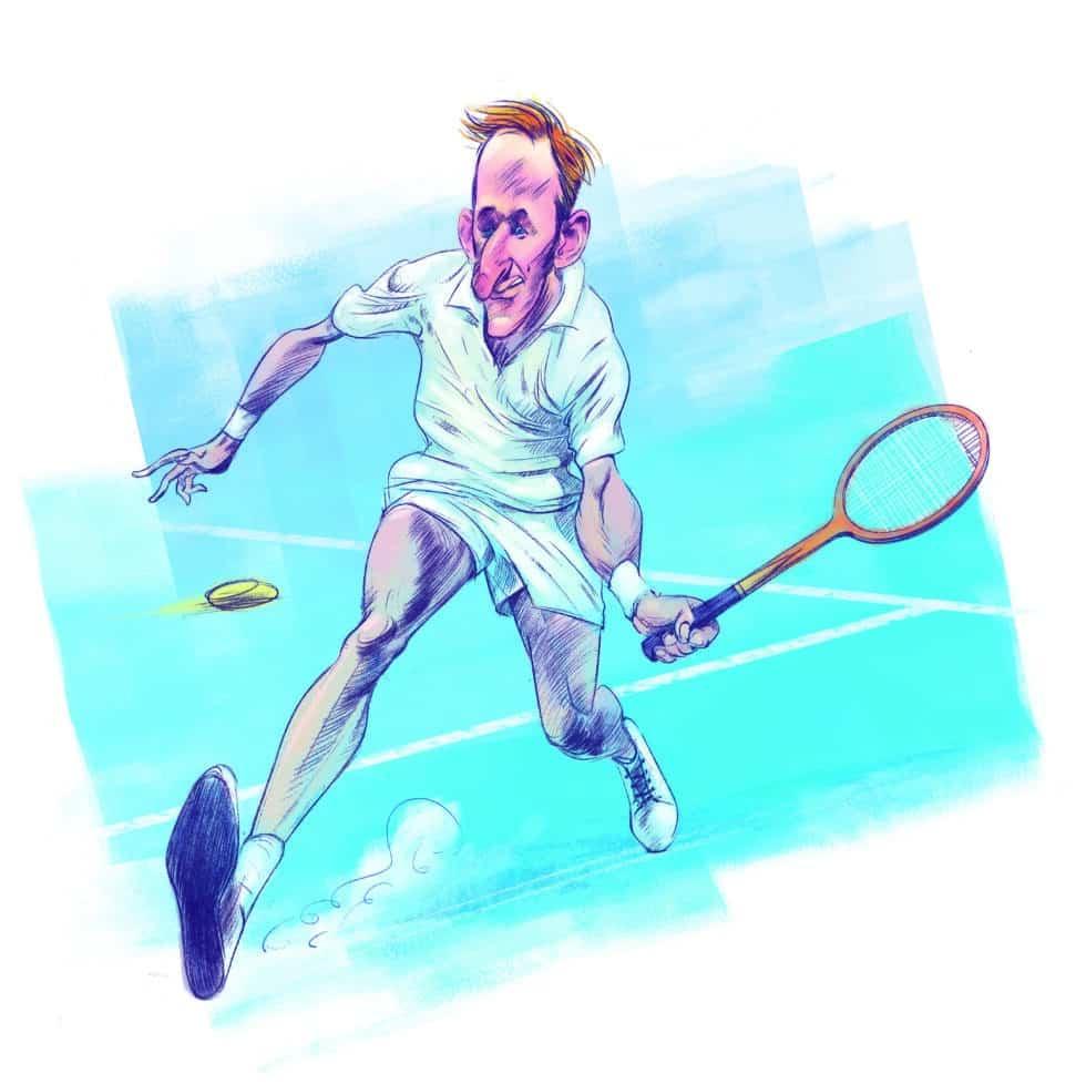 """Ilustración del tenista Rod Laver para el libro """"Álbum de cromos"""""""
