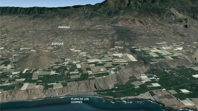 Área afectada por el volcán.