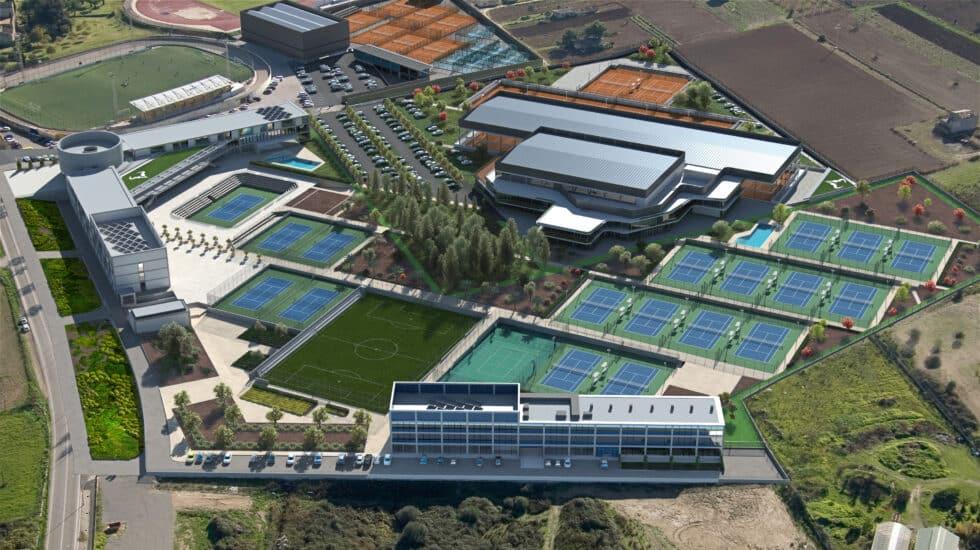 Imagen aérea de la academia de Rafael Nadal en Mallorca