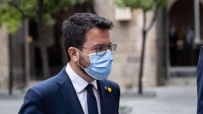 El presidente de la Generalitat de Catalunya, Pere Aragonès, acude al Palau de la Generalitat