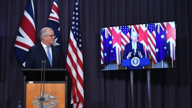 Firma del acuerdo Aukus entre Estados Unidos, Reino Unido y Australia.