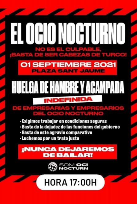 Cartel de convocatoria de huelga de hambre y acampada del ocio nocturno