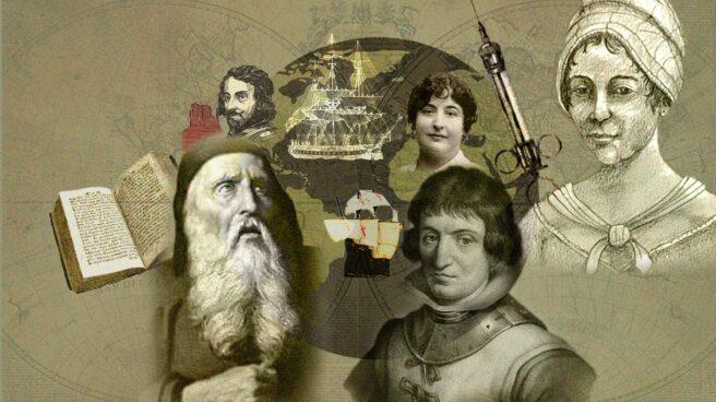 Collage de los exploradores españoles Ramón Lull, Francisco Vázquez de Coronado, Catalina de Erauso, Isabel Zendal y Carmen de Burgos Seguí
