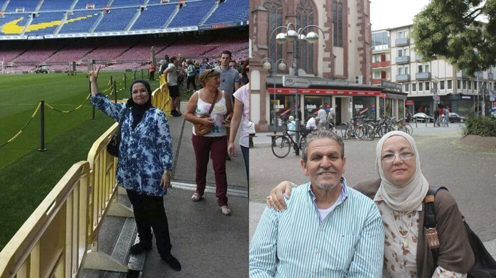 Las hermanas de Atta en viajes recientes a Europa. A la izquierda, Mona en una visita al Camp Nou en Barcelona. A la derecha, Azza junto a su marido, ya fallecido, en Alemania.