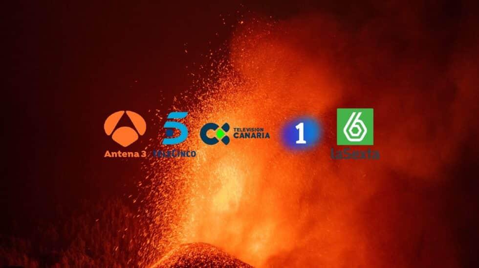 Volcán de La Palma en erupción. En medios los logos de las cadenas de televisión nacionales y de RTVC