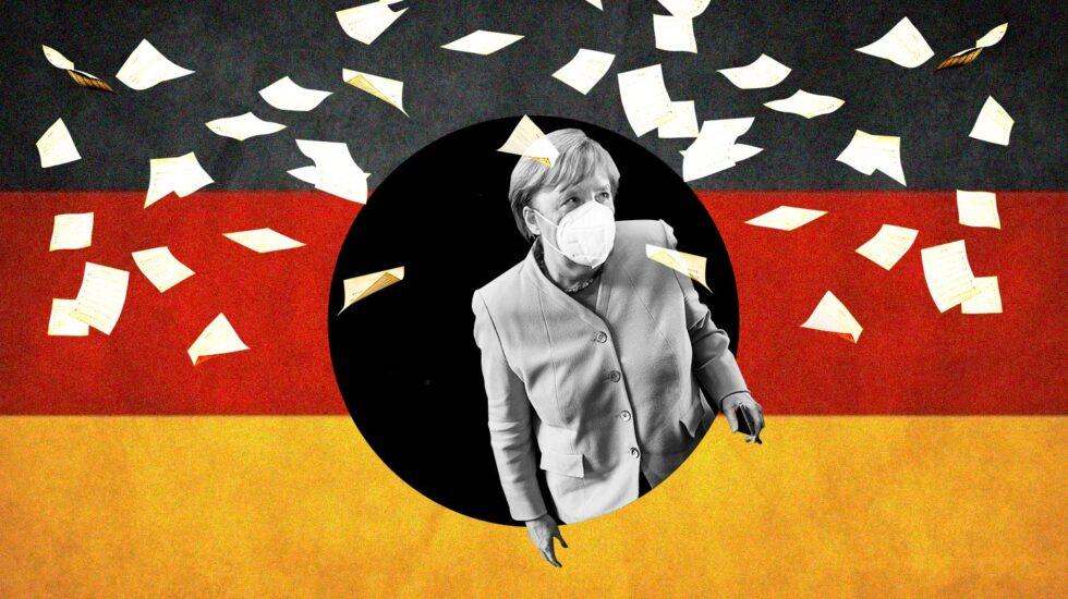 Imagen de Angela Merkel saliendo de un agujero negro sobre la bandera de Alemania