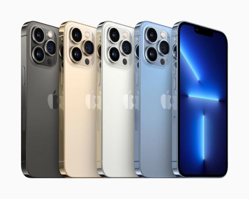 Imagen de archivo de 4 Iphone 13 en los cuatro colores en los que está disponible
