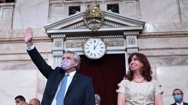 Alberto Fernández y Cristina Fernández de Kirchner, en la apertura de la sesión parlamentaria