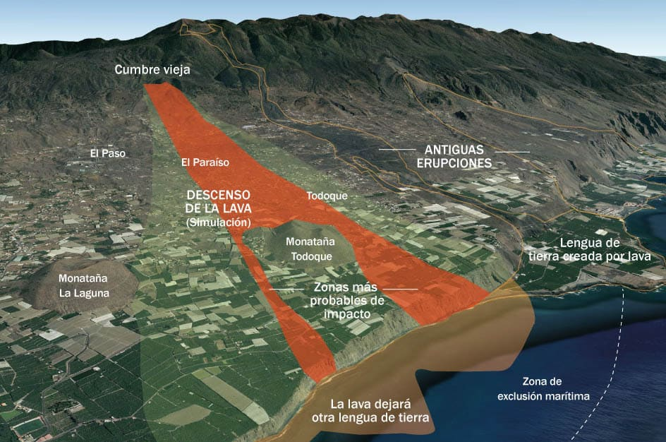 Simulación del descenso de lava hacia el mar
