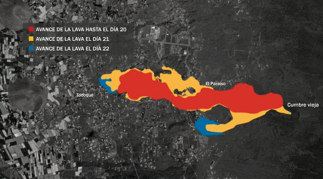 Mapa del avance de la lava con información de Copernicus.