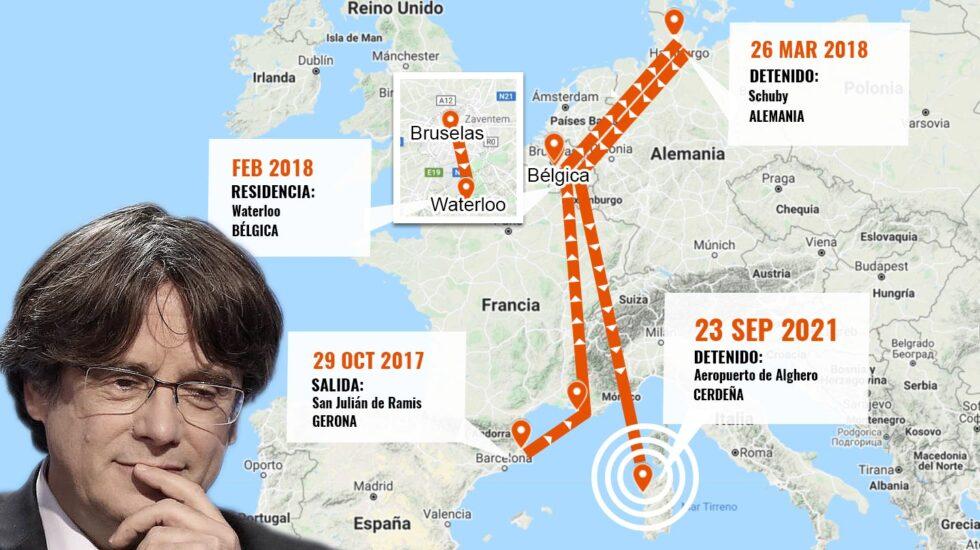 Mapa con la ruta que ha seguido Puigdemont desde que salió de Girona a finales de octubre de 2017.