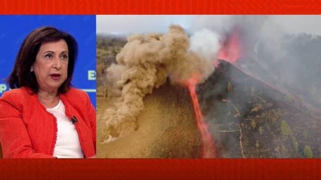 """Margarita Robles a la izquierda, hablando sobre el volcán de Teneguía. A la derecha, imagen del bolcán. (Pantalla partida de Espejo Público"""""""